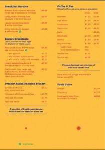 photo of breakfast menu